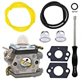 NIMTEK 523012401 Carburetor with Adjustment Tool Fuel Line Primer Bulb for Husqvarna Trimmer 122HD45 122HD60 Jonsered HT2218 HT2223T Redmax CH220 CHT220L