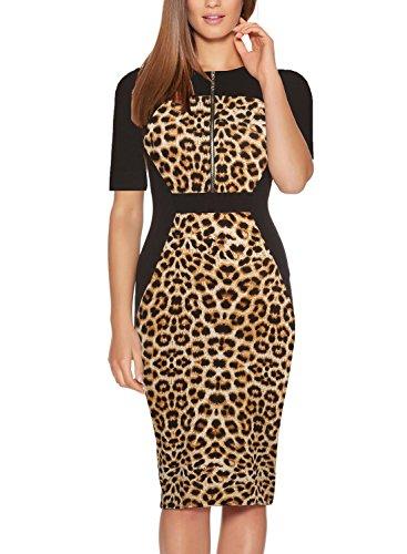 Fantaist Women Half Sleeve Leopard Sheath Formal Fall Dresses for Wedding Guest (XS, FT601-Leopard)