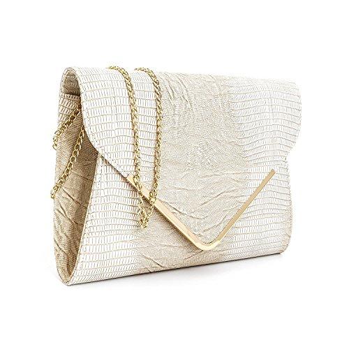 Bag Flat Womens Clutch Evening Beige Animal Designer Envelope Ladies Print fYxPwFqnCA