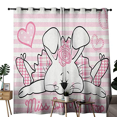 (duommhome Girls Printed Insulation Curtain Miss Bunny Hoop in Love Romantic Cute Rabbit Valentines Day in Hearts Artwork Set of Two Panels W108 x L96 Pale Pink White)