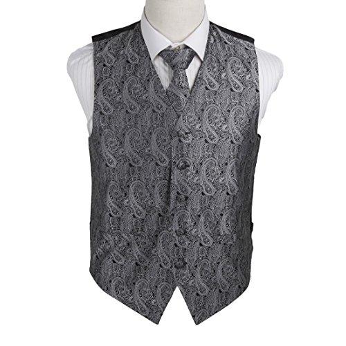 EGD1B02D-L Grey Black Patterns Microfiber Dress Tuxedo Vest Neck Tie Set Online Shopping For Bridegrooms By Epoint