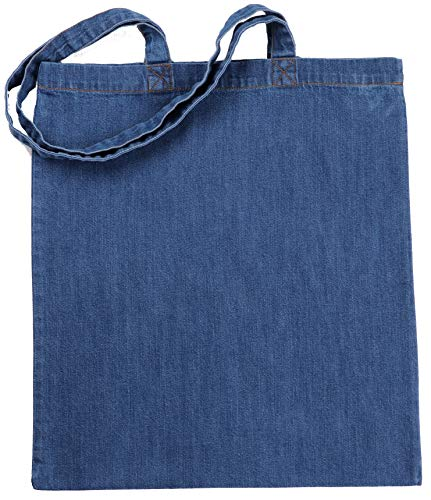 Green Atmos 3 pack Pre-Washed Blue Denim tote bags 15 X 16 inch with 27 inch long handle reusable grocery tote bags cotton eco friendly super strong washable great choice for promotion branding