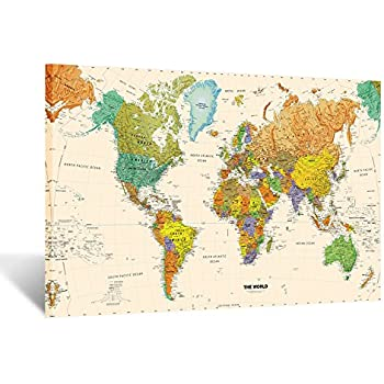 Amazon.com: World Modern Day Antique Canvas Wall Map 24x36: Prints ...