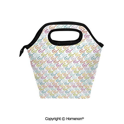 Insulated Neoprene Soft Lunch Bag Tote Handbag lunchbox,3d prited with Colorful Pattern with Classical Old Fashioned Eyeglasses Nerd Smart Hipster Doodle,For School work Office Kids Lunch Box & Food C