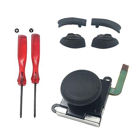 Stick Analógico 3D Palanca de Mando de Repuesto + 2pcs Destornillador + 1pair Funda para Palanca de Mando Tapas/LR ZL ZR Izquierdo o Derecho Buttons ...