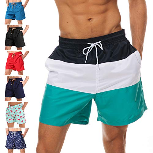 (anqier Mens Swim Trunks Quick Dry Beach Shorts Mesh Lining Board Shorts Swimwear Bathing Suits with Pockets (Green3, US XS (Fits Waist 28