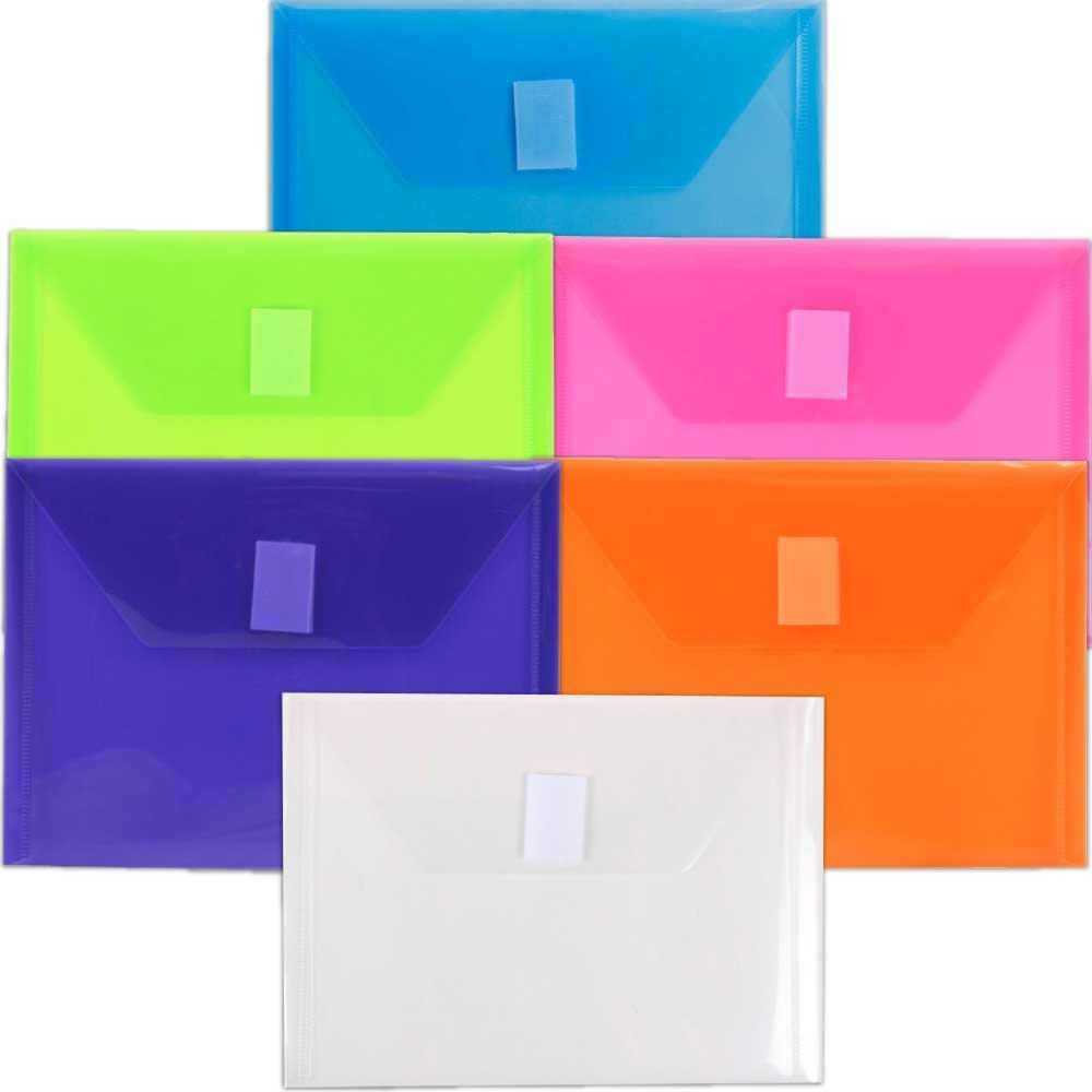 JAM Paper Plastic Envelopes with Hook and Loop Closure - Index - 5 1/2'' x 7 1/2'' - Assorted Colors - 6/pack
