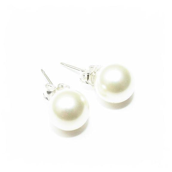 a37c653dc6d9 925 Silber Ohrstecker mit runden weißen Kristall Perlen aus SWAROVSKI®.   Amazon.de  Schmuck