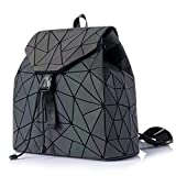 HotOne Shard Lattice Design Geometric Backpack Holographic Reflective Backpacks PU Leather Fashion Backpack (Luminous No.4)