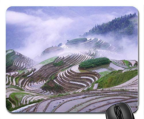 Rice terraces in Early Morning Mist Rubber Computer Mouse PAD Mat