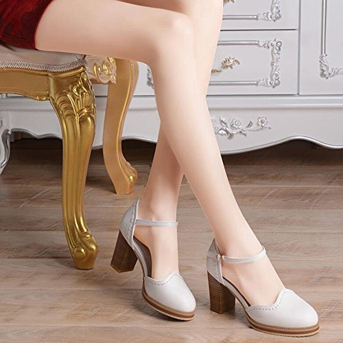 Sandals CJC Womens Ladies High Heel Ankle Strap Court Shoes (Color : White, Size : EU36/UK3.5) White