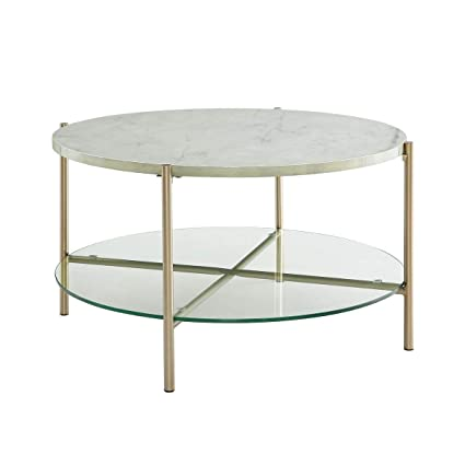 Round Coffee Table Gold Legs 6