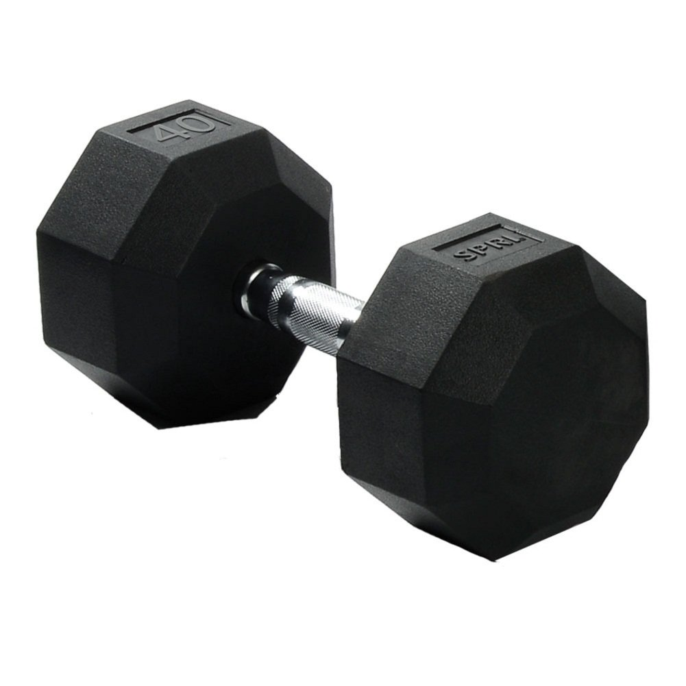 SPRI Deluxe Rubber Dumbbells (Sold as set of 2) (10-Pound) HEX-10