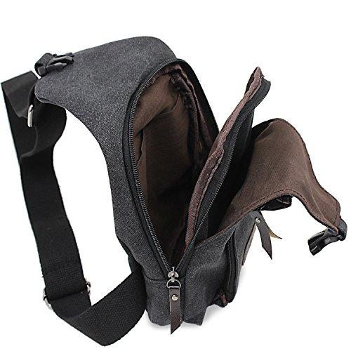 lona la bolsa Mochila bolsa Large Black de Ocio de hombres PsmGoods® Sling pecho Senderismo hombro bolsillo viaje 4Rx8nzq