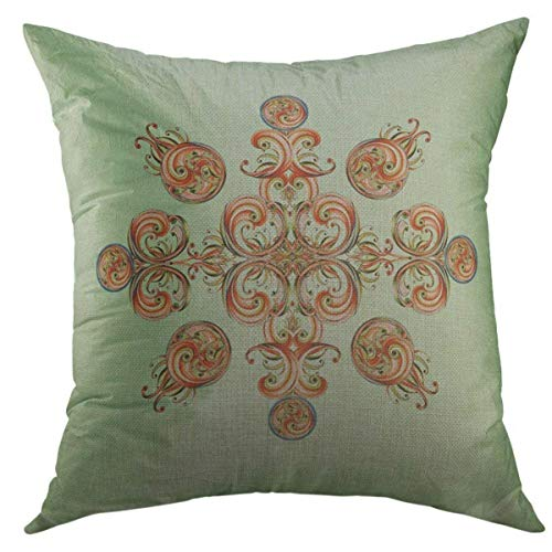 Mugod Decorative Throw Pillow Cover for Couch Sofa,Blue Abstract Peach Green Ribbon Paisley Terracotta Home Decor Pillow case 18x18 Inch