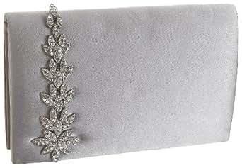 Menbur Jeweled Satin Clutch,Pearl Grey,one size