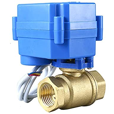 9-24V AC//DC 3 Wire Setup Homend Motorized Ball Valve Brass Electrical Ball Valve with Full Port 3//4