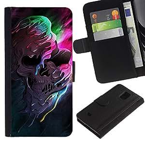 KLONGSHOP // Tirón de la caja Cartera de cuero con ranuras para tarjetas - Melting cráneo Colores - Samsung Galaxy S5 Mini, SM-G800 //
