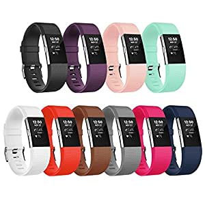 For Fitbit Charge 2 Bands, Adjustable Replacement Bands with Metal Clasp for Fitbit Charge 2 Wristbands Classic Edition 10 Colors Small