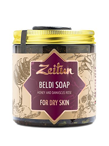 Zeitun Authentic Beldi Soap - Traditional Moroccan Body Soap - Exfoliating Olive Oil Soap Made with Honey & Damascus Rose and Essential Oils - Vegan Moisturizing Body Soap For Dry Skin 8.5 oz