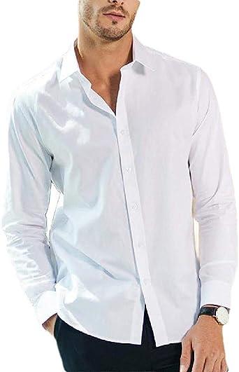 dahuo Camisa Vaquera de Manga Larga con Botones Formales para Hombre, Color Blanco, Talla XS=China S Blanco Blanco XL: Amazon.es: Ropa y accesorios