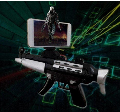 Intelligent Black AR8 Game Gun Augmented Reality 3D 360 AR Gun for VR Video Game with Bluetooth Connecting IOS, Android Smart Phone