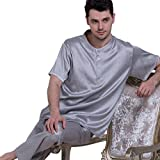 Chesslyre Summer Elastic Mulberry Silk Satin Sleepwear Men's Pullover Silk Pajama Sets