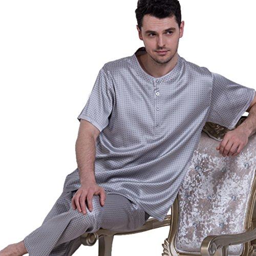 Chesslyre Summer Elastic Mulberry Silk Satin Sleepwear Men's Pullover Silk Pajama Sets by Chesslyre