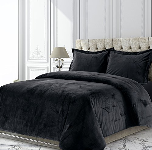 Tribeca Living Veniceduvetqubl Venice Velvet Oversized Solid Duvet Set, Queen, - Queen Duvet Black