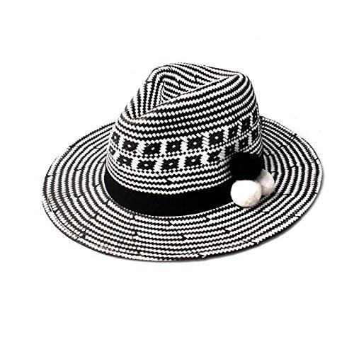 Chapeau Effet Soleil Des De Dames Accessoryo Pom Avec Monochrome Détails Otwqvx7