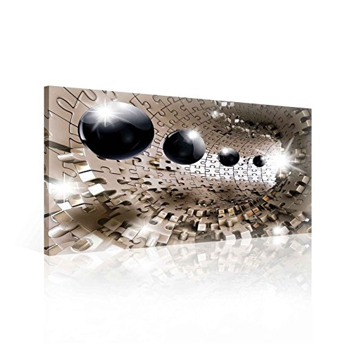 Ready to Hang Canvas Wall Art - 3D Optical Illusion Balls Spheres in Jigsaw Tunnel - M - 23.6