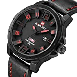 Men's Black Leather Wrist Watch Large Face 3D Analog Quartz Casual Watch with Red Number and Analogue