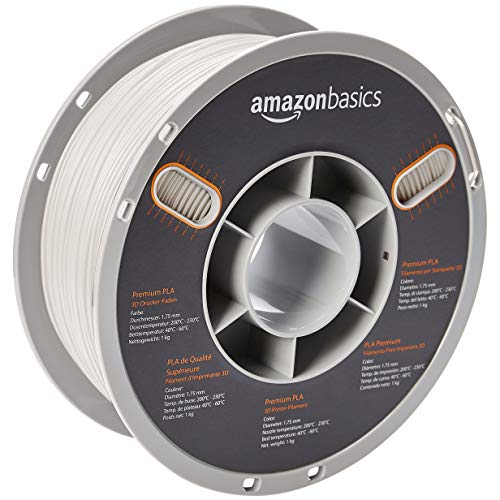AmazonBasics Premium PLA 3D Printer Filament, 1.75mm, White, 1 kg Spool