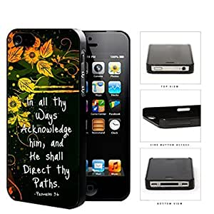 Proverbs 3:6 Bible Verse with Orange Yellow Floral Vine Design and Black Background iPhone 4 4s Hard Snap on Plastic Cell Phone Case Cover by icecream design