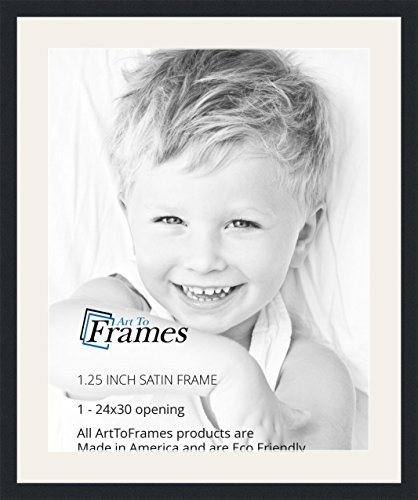 ArtToFrames 24 x 30 Inch Opening Single Mat with a Satin Black 1.25'' wide Picture Frame, 2'' Super White (2' Wide Satin)