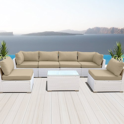 Modenzi NEW 7G-U Outdoor Sectional Patio Furniture White Wic