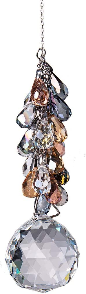 LONGSHENG - SINCE 2001 - 40mm Crystals Ball Prisms Suncatcher Hanging Ornament Chakra Crystals Rainbow Maker with Colors Crystal Pendants for Home,Office,Garden Decoration