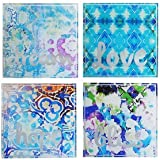 Tracy Porter Square Coasters (Set of 4), Blue