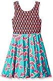 Emily West Girls' Watermelon Print To Floral/Chevron Flip and Twirl Dress