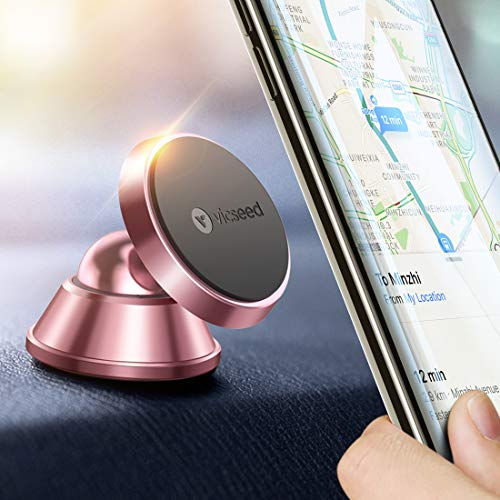 VICSEED Car Phone Mount,Universal Magnetic Phone Car Mount, Handsfree Cell Phone Holder for Car Dashboard Compatible iPhone XR Xs Max X 8 7 6 Plus, Samsung S10+ S10 S10e S9 S8 S7 LG Google(Rose Gold)