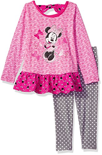Disney Little Girls' 2 Piece Minnie Space Dye Legging Set, Pink, 6
