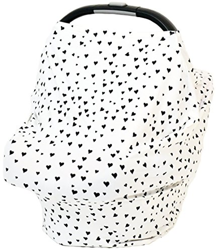 Stretchy Baby Car Seat Cover by LOVESICK MONKEY | Original Car Seat Canopy | Nursing Cover | Multi-Use & Breathable | Making Mums Life Easier - BLACK & WHITE HEARTS Lovesick Heart