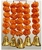 SPHINX Artificial Marigold Fluffy Flowers and Golden/Silver Hanging Bells Short Garlands/Torans/Wall hangings/Latkans for Decoration Approx 1.2 ft- Pack of 5 Strings (Dark Orange)