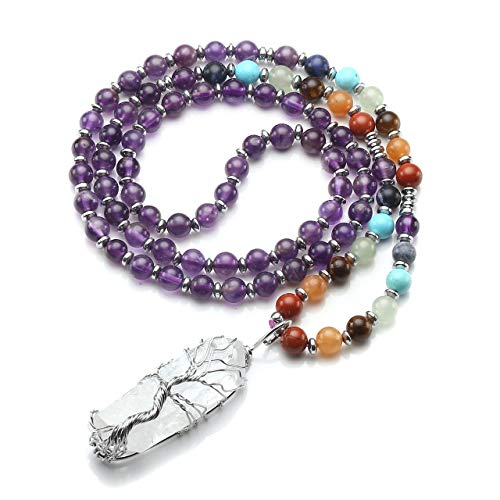 Top Plaza Natural Stone Beads Chakra Healing Crystal Amethyst Necklace Silver Tree of Life Wire Wrapped Raw Clear Quartz Point Pendant Jewelry for Womens Ladies