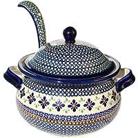 Polish Pottery Soup Tureen with Ladle Zaklady Ceramiczne Boleslawiec 1004/1367-du60 Unikat Pattern, 13.4 Cups