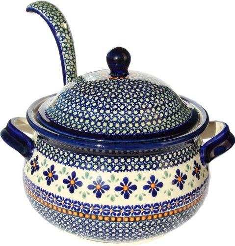 Stoneware Soup Tureen - Polish Pottery Soup Tureen with Ladle Zaklady Ceramiczne Boleslawiec 1004/1367-du60 Unikat Pattern, 13.4 Cups