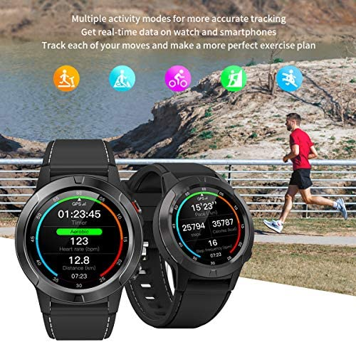 Smart Watch for Android Phones iOS, GPS Smartwatch for Men with Heart Rate and BP Monitor, Pedometer, Text Call Notification, Compass, Barometer, Altitude, Leather and Rubber Bands, Round Face, 2020 51pZeSl9cPL
