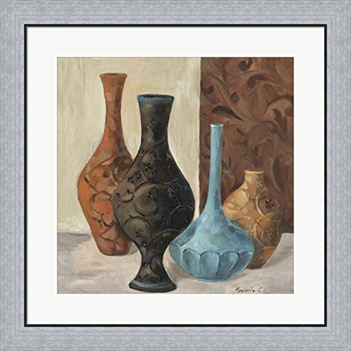 Spa Vases II by Marietta Cohen Framed Art Print Wall Picture, Flat Silver Frame, 26 x 26 inches