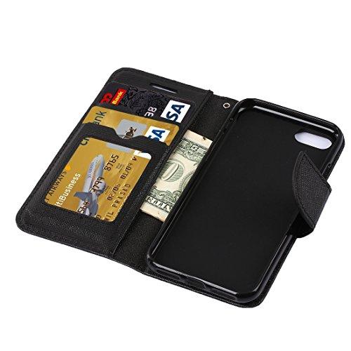 Protege tu iPhone, Para el iPhone 7 Cruz Textura horizontal Flip caja de cuero con titular y ranuras para tarjetas y cartera, pequeña cantidad recomendada antes de lanzamiento de iPhone 7 Para el telé Negro