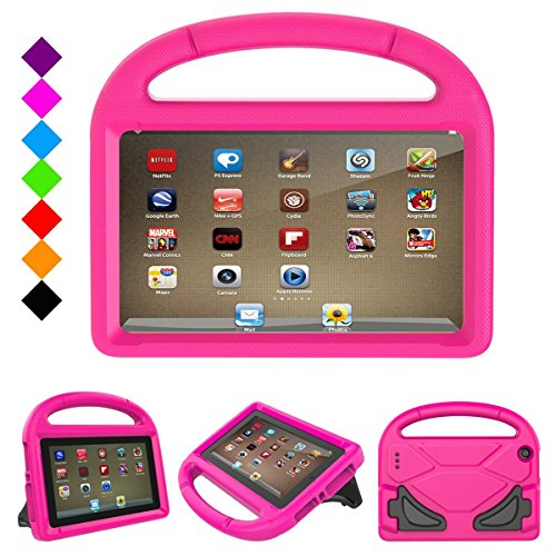 Fire 7 2017 Case, Fire 7 2015 Case,Riaour Light Weight Kids Shock Proof Stand Cover for Amazon Fire 7 Tablet (5th Generation, 2015 Release and 7th Generation, 2017 Release)(Rose) by Riaour